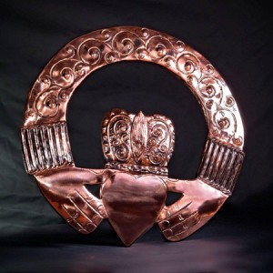 large claddagh ring made of copper